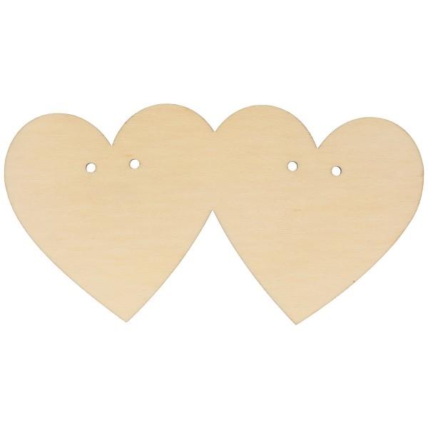 Porte alliances en bois à décorer - Coeur double - 10 x 19 cm - 1pce - Photo n°1