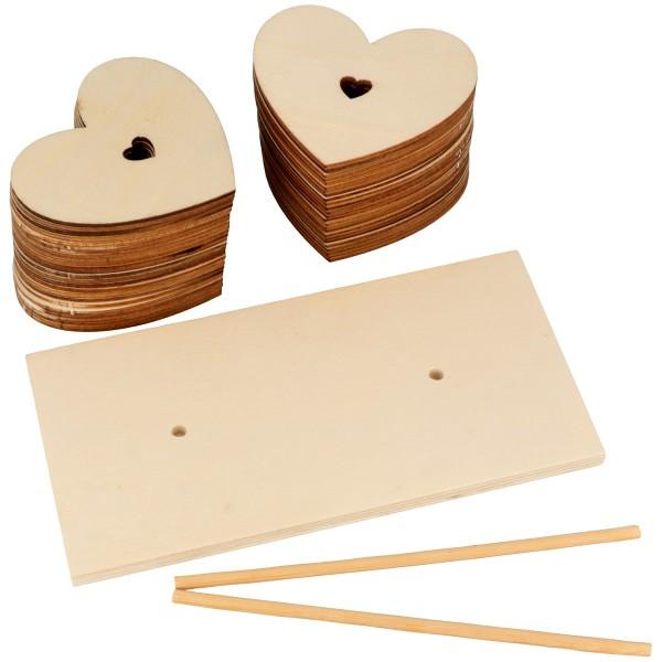 Coeurs en bois à décorer - 50 pcs + socle - Photo n°2