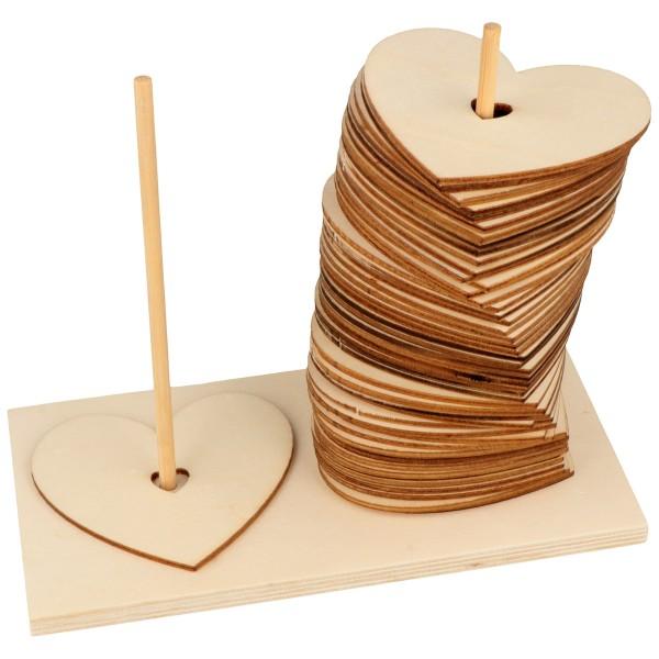 Coeurs en bois à décorer - 50 pcs + socle - Photo n°1