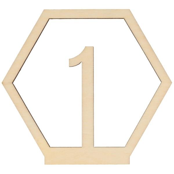 Numéros de table en bois - 1 à 15 - 10,5 cm - 15pcs - Photo n°1
