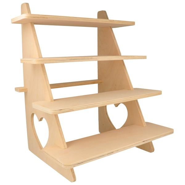 Présentoir à étagères en bois - Coeur - 38 x 32 x 26 cm - Photo n°1