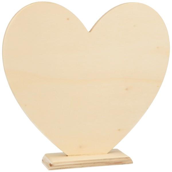 Coeur en bois sur socle - 16 x 14,5 cm - 1 pce - Photo n°1