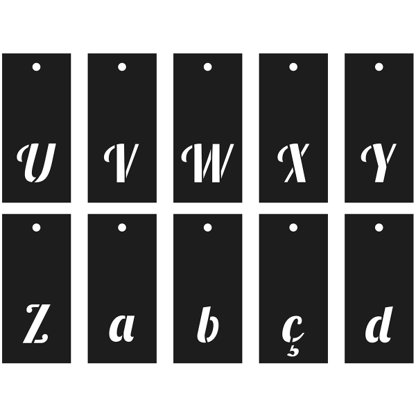 Pochoirs Multi-usage - Alphabet, Chiffres et symboles - Police Lobster - 70 pcs - Photo n°4