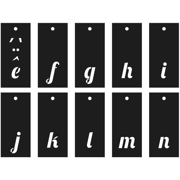 Pochoirs Multi-usage - Alphabet, Chiffres et symboles - Police Lobster - 70 pcs - Photo n°5