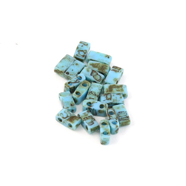 5g Miyuki Half Tila turquoise blue picasso HTL-4514 - Photo n°1
