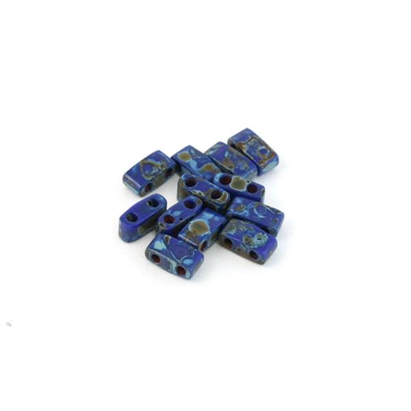 5g Miyuki Half Tila opaque cobalt picasso HTL-4518 - Photo n°1