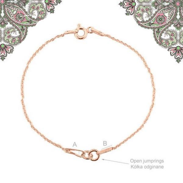 Argent 925 Plaquage Or Rose -1 Bracelet 15 cm avec anneaux pour Breloques Intercalaires, connecteurs - Photo n°1
