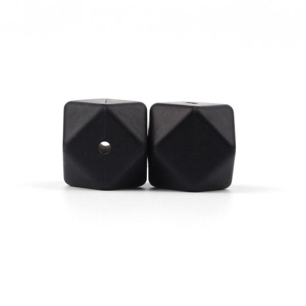 Perle Silicone Hexagone Noir 17mm ,Creation bijoux - Photo n°1