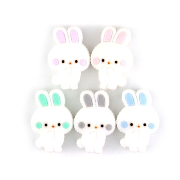 Perle Silicone Petit Lapin Gris Clair 27mm x 18mm Creation bijoux - Photo n°2