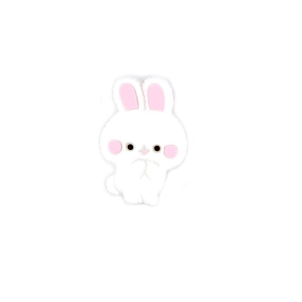 Perle Silicone Petit Lapin Rose Clair 27mm x 18mm Creation bijoux - Photo n°1