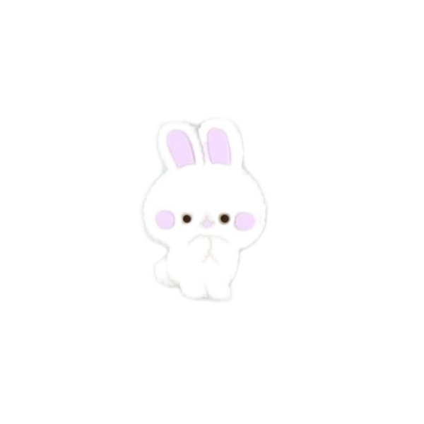 Perle Silicone Petit Lapin Violet Clair 27mm x 18mm Creation bijoux - Photo n°1