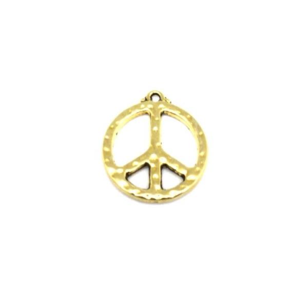 5 Breloques Peace And Love Doré En Métal Martelé - Photo n°3