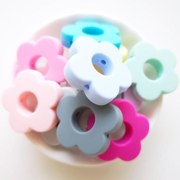 Perle Silicone Fleur Bleu Clair 27mm, Creation bijoux - Photo n°2