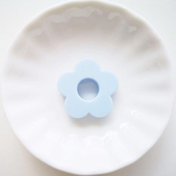 Perle Silicone Fleur Bleu Clair 27mm, Creation bijoux - Photo n°1