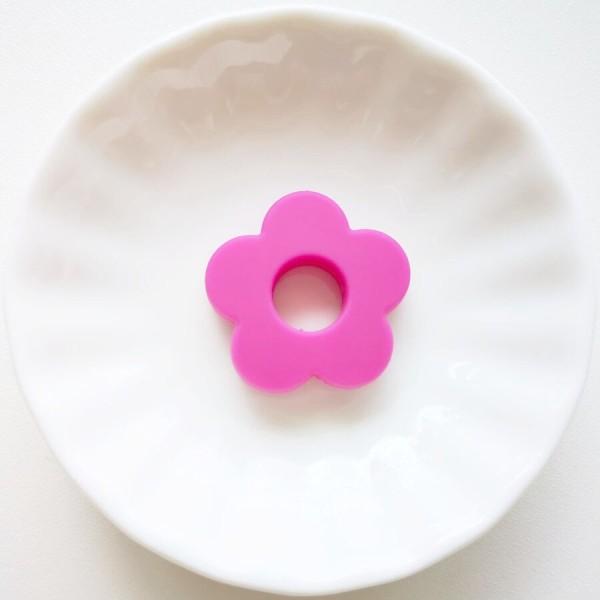 Perle Silicone Fleur Fuchsia 27mm, Creation bijoux - Photo n°1