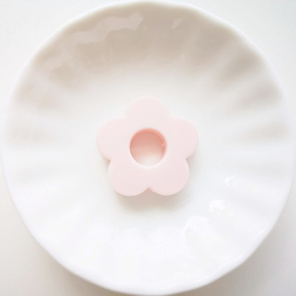 Perle Silicone Fleur Rose Clair 27mm, Creation bijoux - Photo n°1