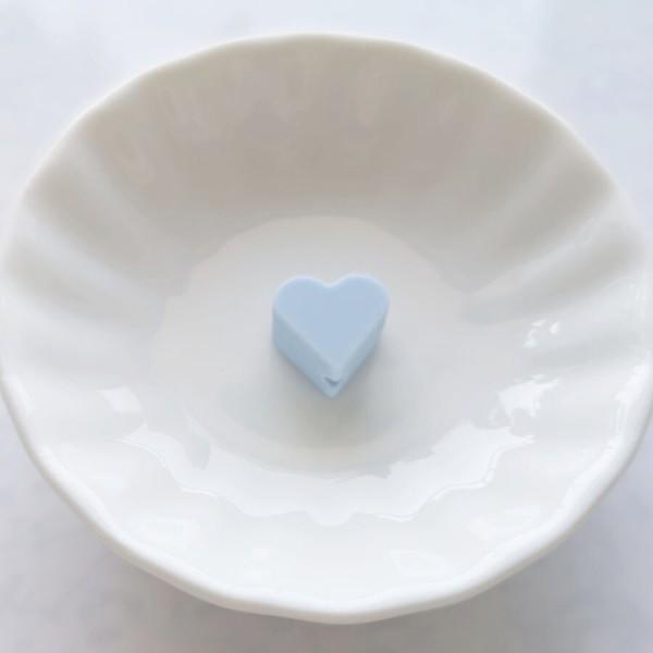 Perle Silicone Petit Coeur Bleu Clair 14mm x 13mm Creation bijoux - Photo n°1