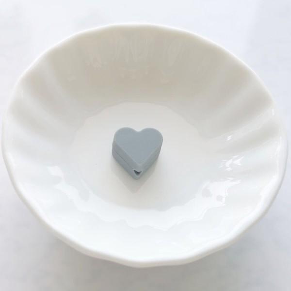 Perle Silicone Petit Coeur Gris 14mm x 13mm Creation bijoux - Photo n°1