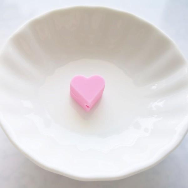 Perle Silicone Petit Coeur Rose 14mm x 13mm Creation bijoux - Photo n°1