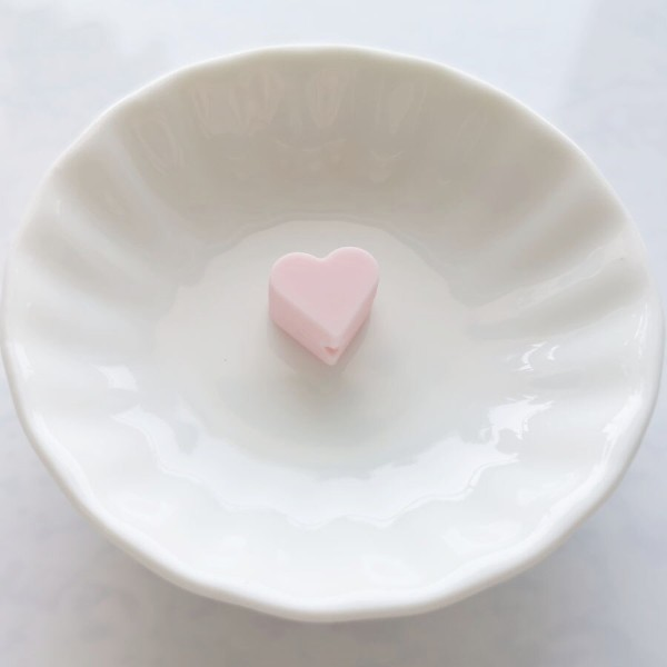 Perle Silicone Petit Coeur Rose Clair 14mm x 13mm Creation bijoux - Photo n°1