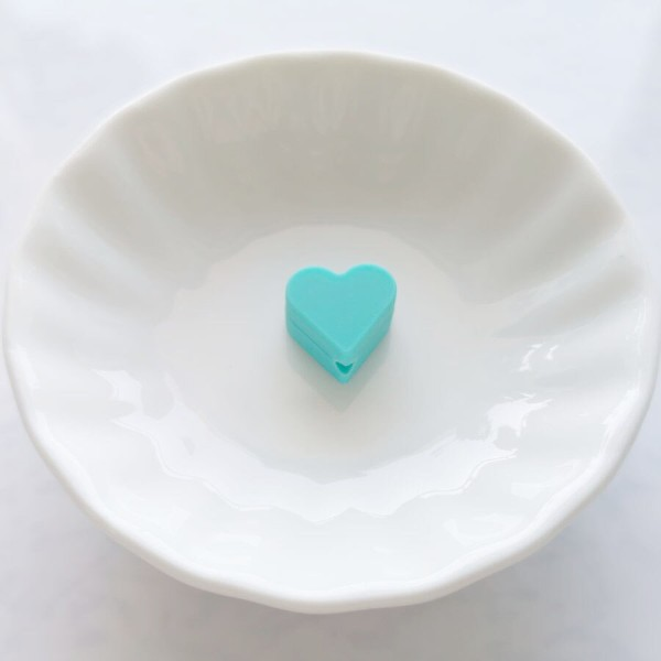 Perle Silicone Petit Coeur Vert 14mm x 13mm Creation bijoux - Photo n°1