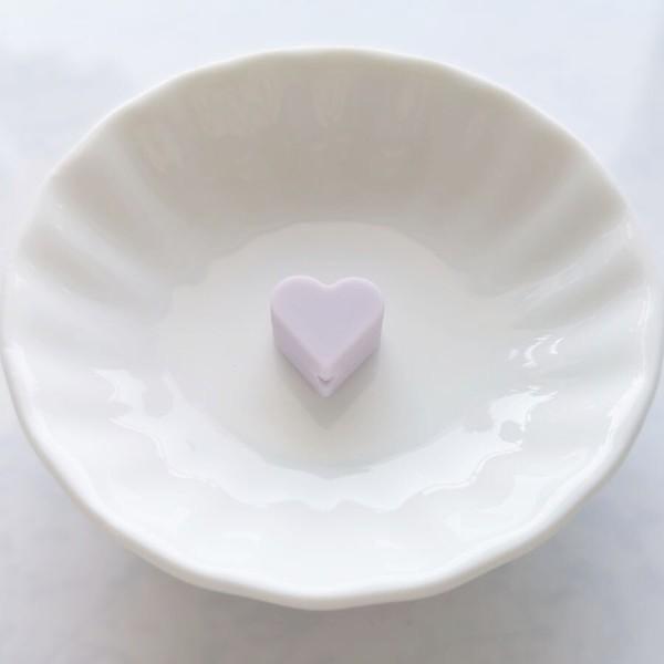 Perle Silicone Petit Coeur Violet Clair 14mm x 13mm Creation bijoux - Photo n°1