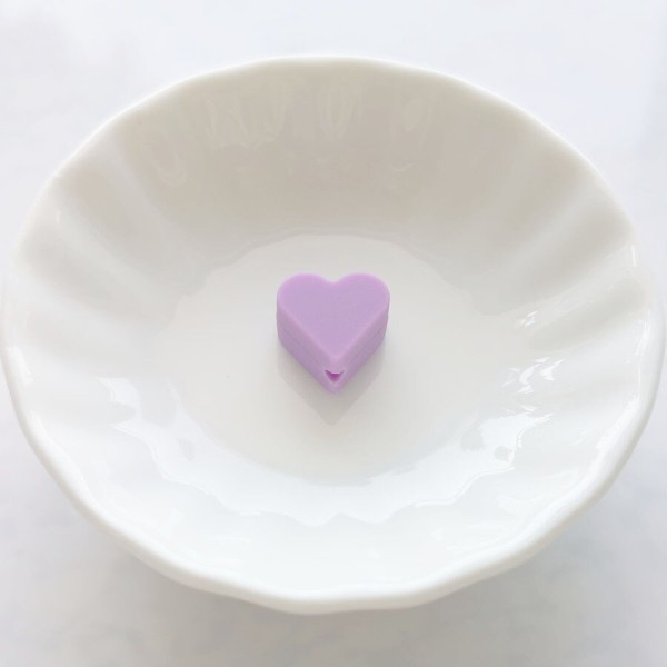 Perle Silicone Petit Coeur Violet 14mm x 13mm Creation bijoux - Photo n°1