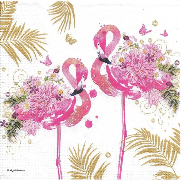 4 Serviettes en papier Flamants Roses Oiseaux Format Lunch Decoupage Decopatch 133-3652 PPD - Photo n°2