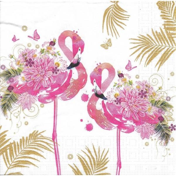 4 Serviettes en papier Flamants Roses Oiseaux Format Lunch Decoupage Decopatch 133-3652 PPD - Photo n°1
