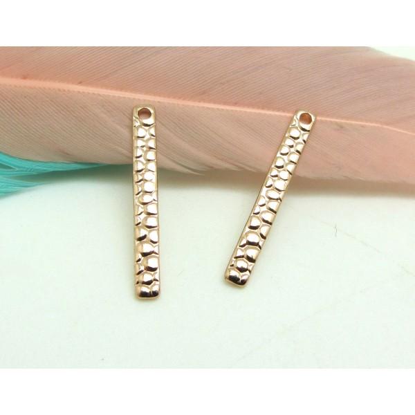 2 Breloques Long Rectangle Or Rose , Pendentif métal martelé Qualité Premium, 20*3 mm - Photo n°1