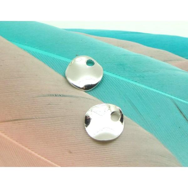 2 Petites Pastilles 6 mm Ondulées Argenté Rhodium Métal - 6 mm - Photo n°1