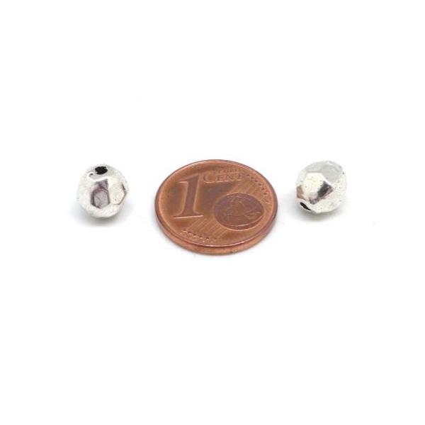10 Perles Facettées En Métal Argenté Pour Cordon 1,5mm - Photo n°2