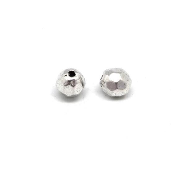 10 Perles Facettées En Métal Argenté Pour Cordon 1,5mm - Photo n°3