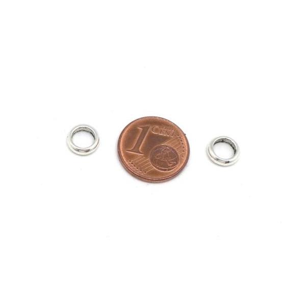 30 Perles Rondelle Fine En Métal Argenté Pour Cordon 4,5mm - Photo n°2