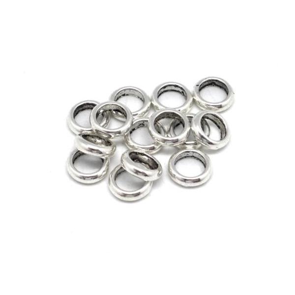 30 Perles Rondelle Fine En Métal Argenté Pour Cordon 4,5mm - Photo n°3