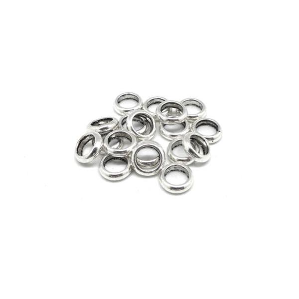 30 Perles Rondelle Fine En Métal Argenté Pour Cordon 4,5mm - Photo n°4