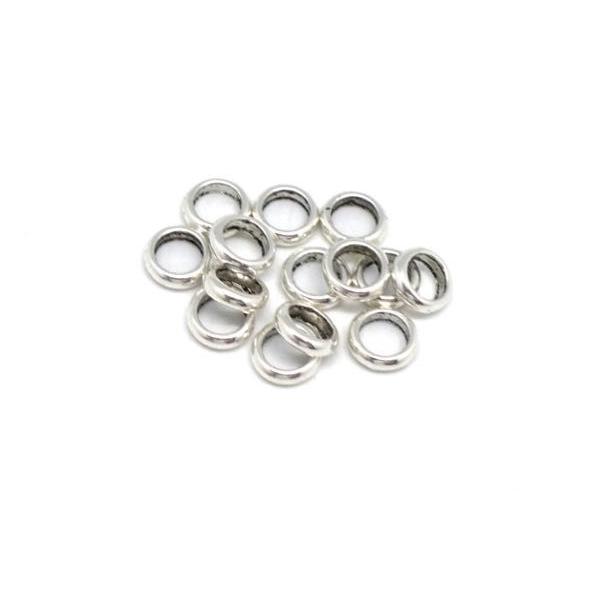 30 Perles Rondelle Fine En Métal Argenté Pour Cordon 4,5mm - Photo n°5