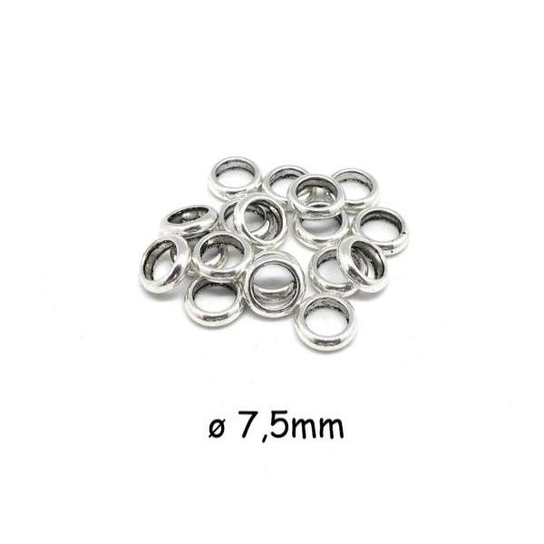 30 Perles Rondelle Fine En Métal Argenté Pour Cordon 4,5mm - Photo n°1