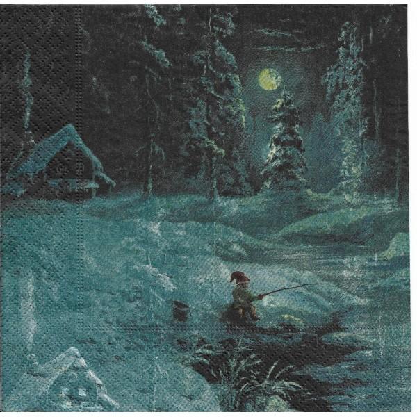 4 Serviettes en papier Père Noël à la pêche Format Lunch Decoupage 193424 Paper+Design - Photo n°2