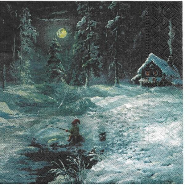 4 Serviettes en papier Père Noël à la pêche Format Lunch Decoupage 193424 Paper+Design - Photo n°1