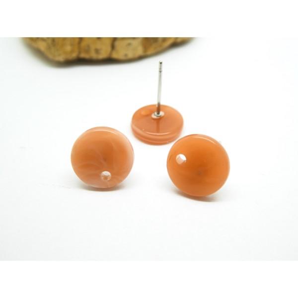 Paire boucles d'oreilles puce ronde 10mm beige rosé, orangé en acétate - Photo n°1