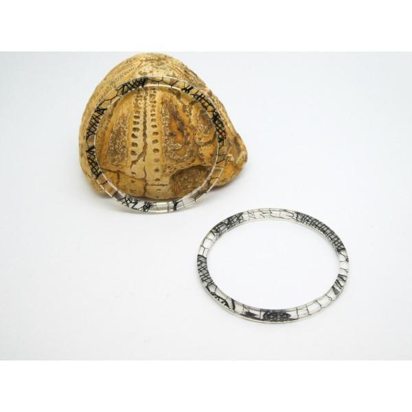 1 Connecteur anneau fermé rond 34mm transparent et noir, en acrylique - Photo n°1