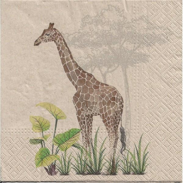 4 Serviettes en papier Girafe Nature Format Lunch Decoupage Decopatch SDLE-030400 Paw - Photo n°1