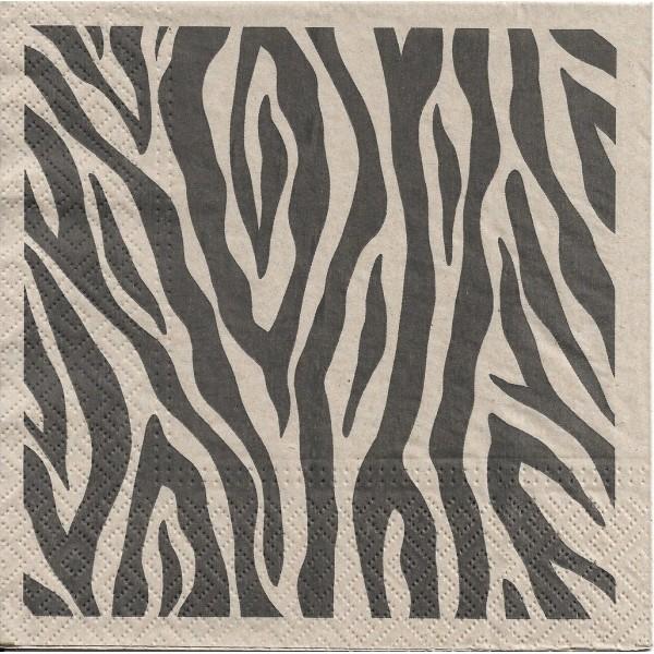 4 Serviettes en papier Zèbre Nature Format Lunch Decoupage Decopatch SDLE-030400 Paw - Photo n°2