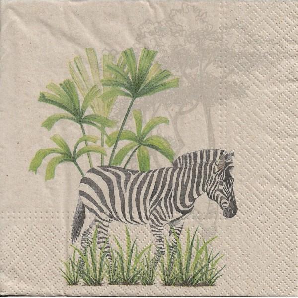 4 Serviettes en papier Zèbre Nature Format Lunch Decoupage Decopatch SDLE-030400 Paw - Photo n°1