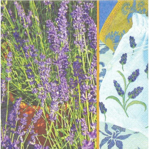 4 Serviettes en papier Fleurs Lavande Format Lunch Decoupage Decopatch 1210-8034 Atelier - Photo n°1