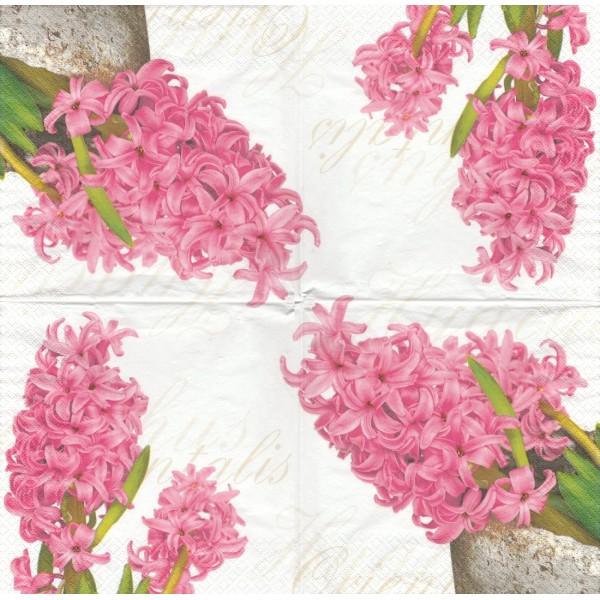 4 Serviettes en papier Fleur Jacinthe Format Lunch Decoupage Decopatch 210917 Home Fashion - Photo n°1