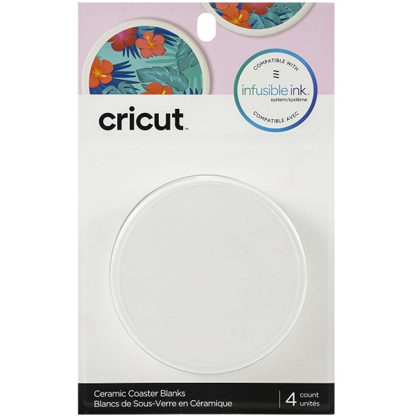 Dessous de verre à personnaliser Infusible Ink Cricut - 9,1 cm de diamètre - 4 pcs - Photo n°1