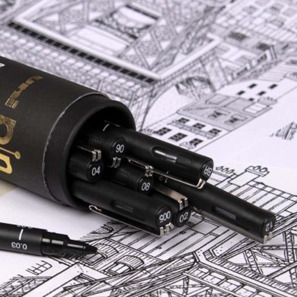 Feutres Uni Pin à pointe calibrée - Noir - 9 pcs - Photo n°2