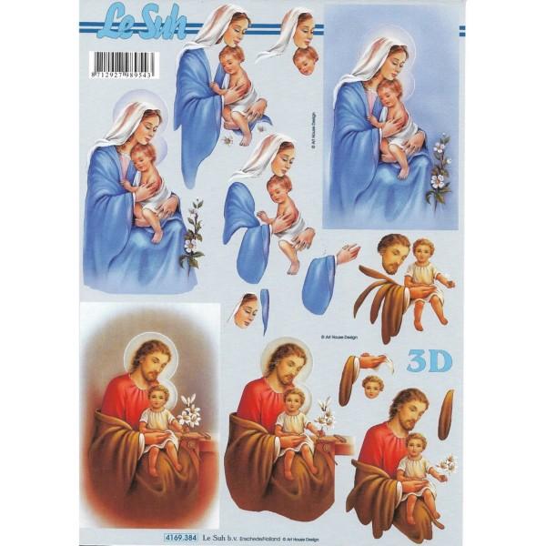 Feuille 3D à découper A4  Jesus Marie Joseph 4169-384 - Photo n°1
